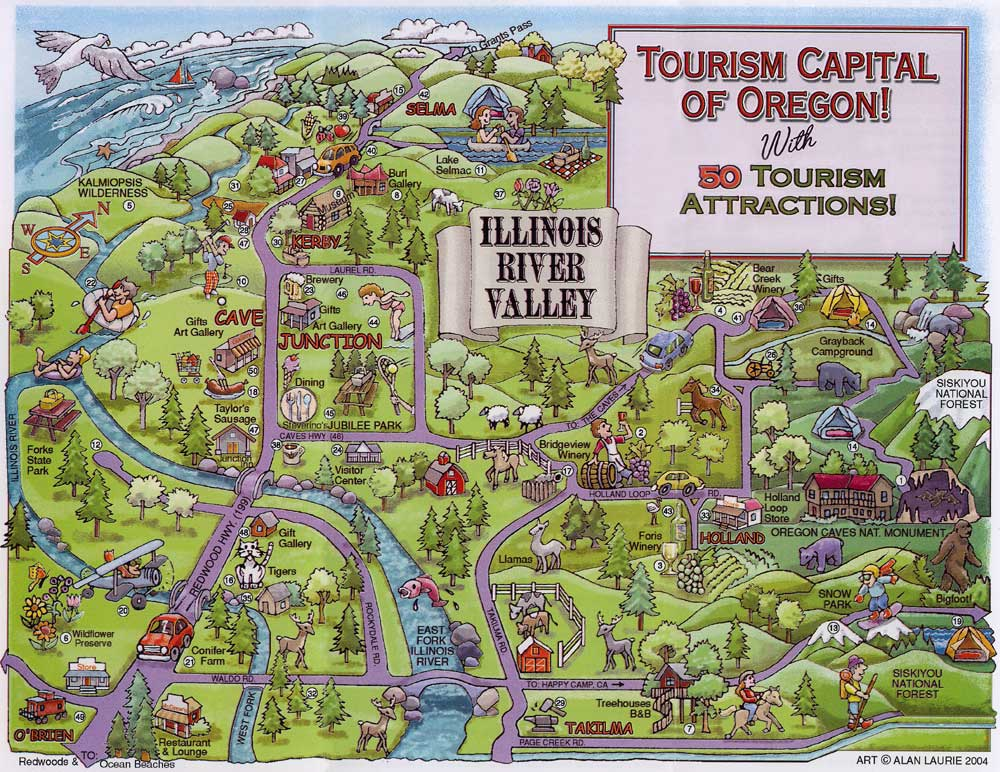 Cave Junction Tourism Information and Map – Tourist Attractions Map In Illinois